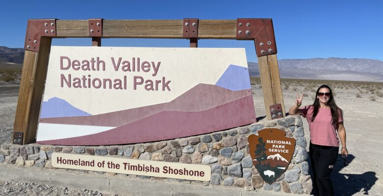 Death Valley National Park standing by the Welcome Sign