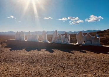 """Rhyolite ghost town with the sculpture """"Last Supper"""""""
